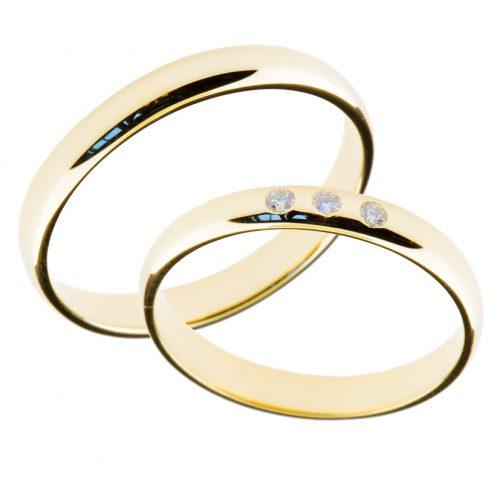 Forlovelsesringer gifteringer gult gull 3x0,01 diamant ca. 3 mm