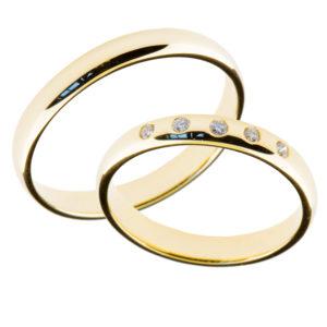 Forlovelsesringer gifteringer gult gull 5x0,01 diamanter ca 3mm