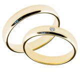 Forlovelsesringer gifteringer gult gull 1x0,02 diamant ca. 4 mm