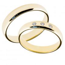 Forlovelsesringer gifteringer gult gull 3x0,02 diamant ca. 4 mm