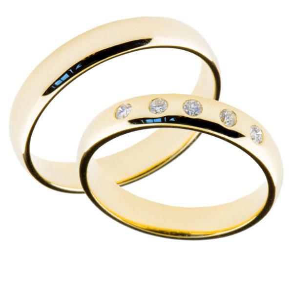 Forlovelsesringer gifteringer gult gull 5x0,02 diamant ca. 4 mm
