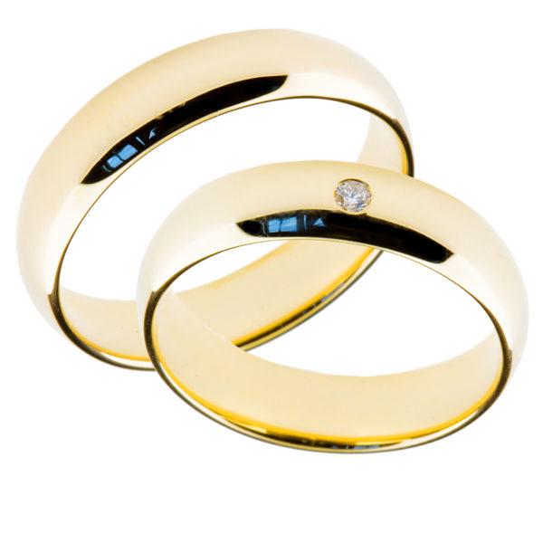 Forlovelsesringer gifteringer gult gull 1x0,02 diamant ca. 5 mm