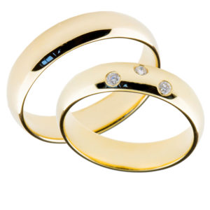 Forlovelseringer gifteringer gult gull 3x0,02 diamant ca. 5 mm