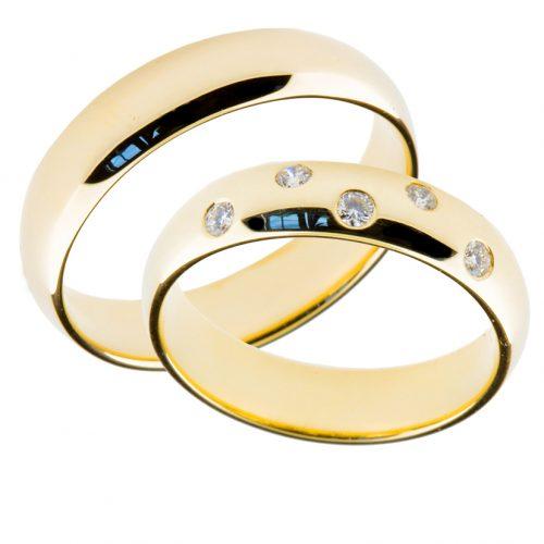 Forlovelsesringer gifteringer gult gull 5x0,02 diamant ca. 5 mm
