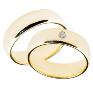 Forlovelsesringer gifteringer gult gull 1x0,05 diamant ca. 6 mm