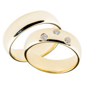 Forlovelsesringer gifteringer gult gull 3x0,05 diamant ca. 6mm