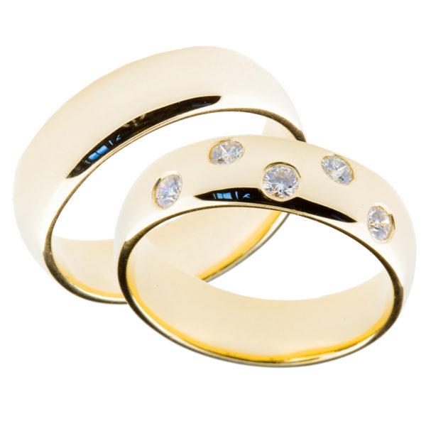 Forlovelsesringer gifteringer gult gull 5x0,05 diamant ca. 6 mm