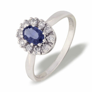 Diana hvitt gull ring med safir og diamanter 0,25 tw/si.
