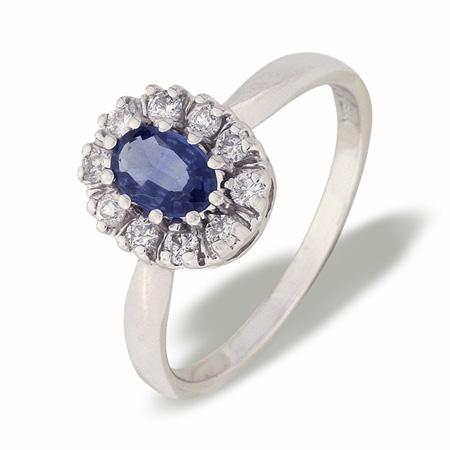 Diana hvitt gull ring med safir og diamanter 0,25 tw/si.