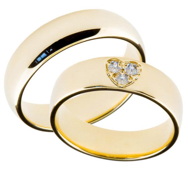Forlovelsesringer gifteringer gult gull 3x0,05 diamant ca. 6 mm