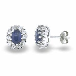 Diana hvitt gull ørepynt med safir og diamanter 0,50 tw/si.