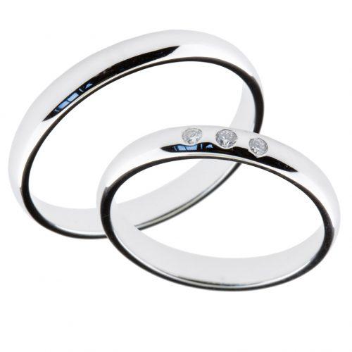 Forlovelsesringer gifteringer hvitt gull 3x0,01 diamant ca. 3 mm