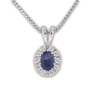 Diana smykke med safir og diamanter 0,25 tw/si.
