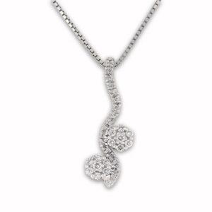 Dobbelt rosettsmykke med diamanter 0,40 tw/si.