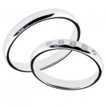 Forlovelsesringer gifteringer hvitt gull 5x0,01 diamanter 3mm