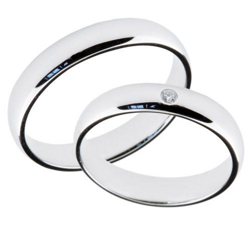 Forlovelsesringer gifteringer hvitt gull 1x0,02 diamant ca. 4 mm