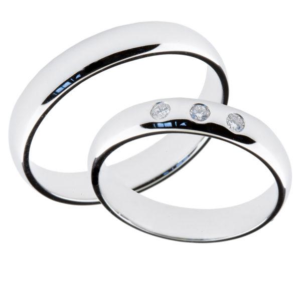 Forlovelsesringer gifteringer hvitt gull 3x0,02 diamant ca. 4 mm