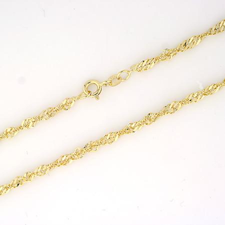 Singapoor halskjede 3,2mm, gult gull