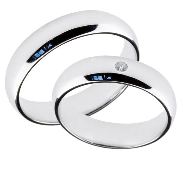 Forlovelsesringer gifteringer hvitt gull 1x0,02 diamant ca. 5 mm