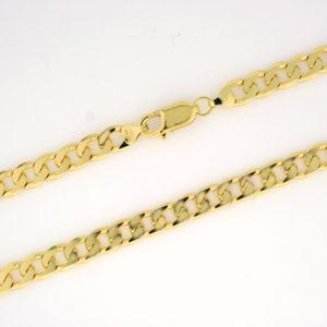 Panser halskjede 6,0mm, gult gull