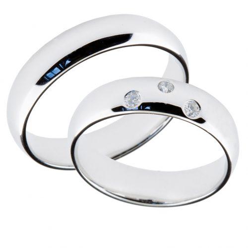 Forlovelsesringer gifteringer hvitt gull 3x0,02 diamant ca. 5 mm