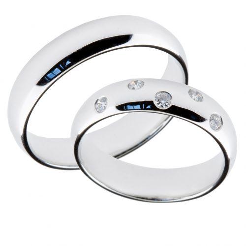 Forlovelsesringer gifteringer hvitt gull 5x0,02 diamant ca. 5 mm