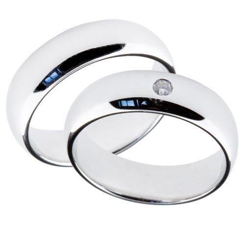 Forlovelsesringer gifteringer hvitt gull 1x0,05 diamant ca. 6 mm