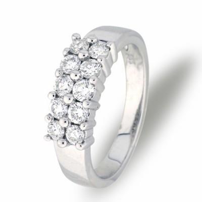 Duett diamantring hvitt gull 1,00 ct tw/si