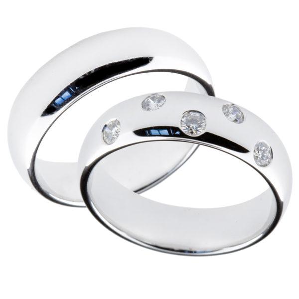 Forlovelsesringer gifteringer hvitt gull 5x0,05 diamant ca. 6 mm