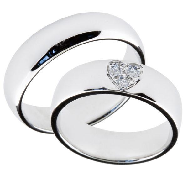 Forlovelsesringer gifteringer hvitt gull 3x0,05 diamant ca. 6 mm