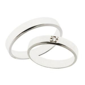 Forlovelsesringer gifteringer hvitt gull 1x0,03 diamant ca 4 mm