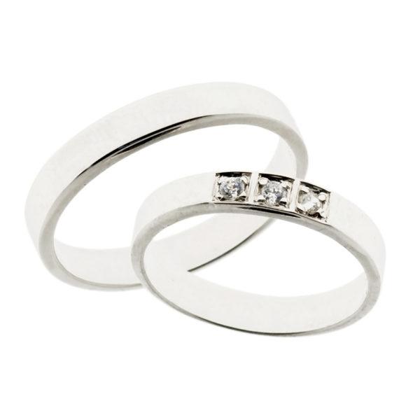Forlovelsesringer gifteringer hvitt gull 3x0,03 diamant ca. 4 mm