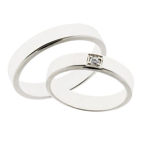 Forlovelsesringer gifteringer hvitt gull 1x0,05 diamant ca. 4,2