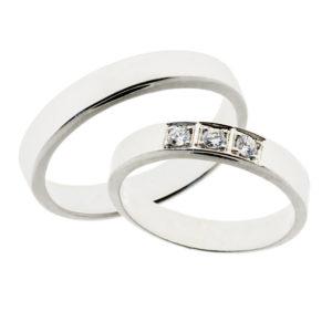 Forlovelsesringer gifteringer hvitt gull 3x0,05 diamant ca. 4,2