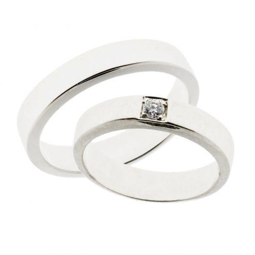 Forlovelsesringer gifteringer hvitt gull 1x0,08 diamant ca. 4,6