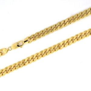 Panser halskjede 8,8mm gult gull.
