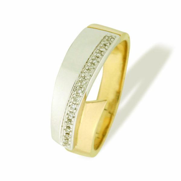 Ring i gult og hvitt gull med 0,07 tw/si.