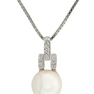 Leona smykke hvitt gull med perle 11mm + 0,10 tw/si