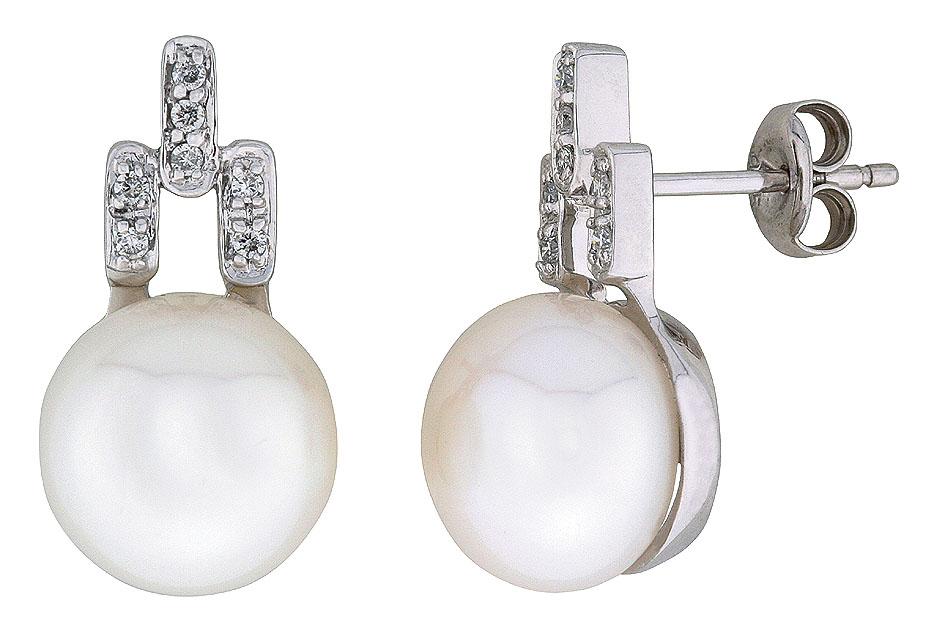 Leona ørepynt hvitt gull perle 11mm + 0,15 tw/si diamanter.
