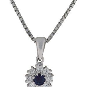 Diamantsmykke hvitt gull 0,30 tw/si + safir.