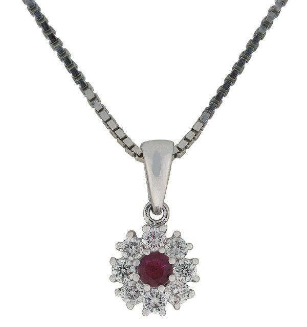 Diamantsmykke hvitt gull 0,30 tw/si + rubin.