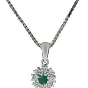 Diamantsmykke hvitt gull 0,30 tw/si + smaragd.