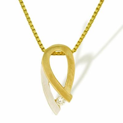 Anheng i gult og hvitt gull med cz.