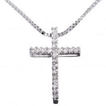 Diamantkors i hvitt gull 0,22 carat tw/si.