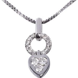 Diamantsmykke Madonna i hvitt gull 0,30 tw/si diamanter.