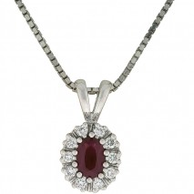 Lady smykke med rubin og diamanter 0,25 tw/si.