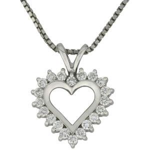 Love anheng hjerte hvitt gull 0,50 tw/si.