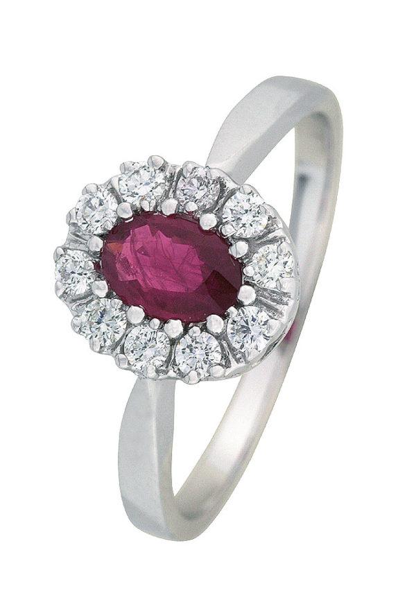 Lady ring hvitt gull med rubin og diamanter 0,25 tw/si.
