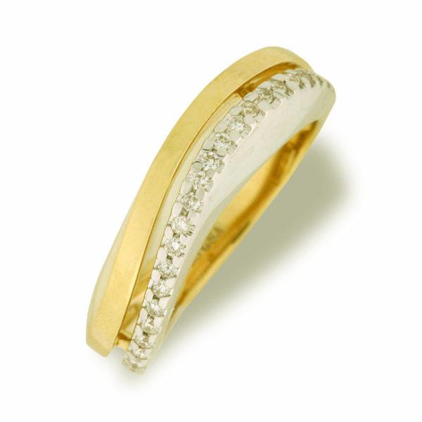 Ring i gult og hvitt gull 0,25 tw/si