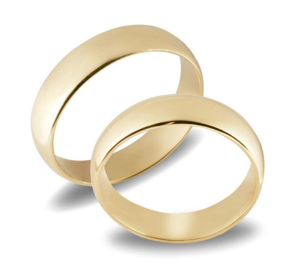 Forlovelseringer gifteringer gult gull glatte ca. 5 mm